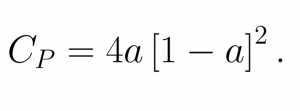 Power Coefficient (in terms of Induction factor) Actuator Calcualtor