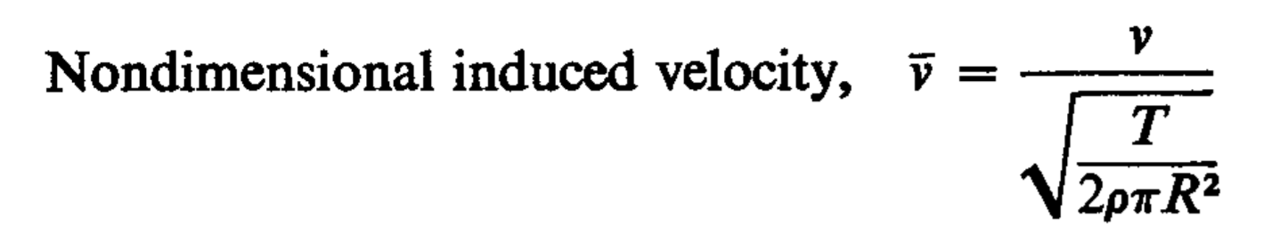 Non dimensional induced velocity of rotor